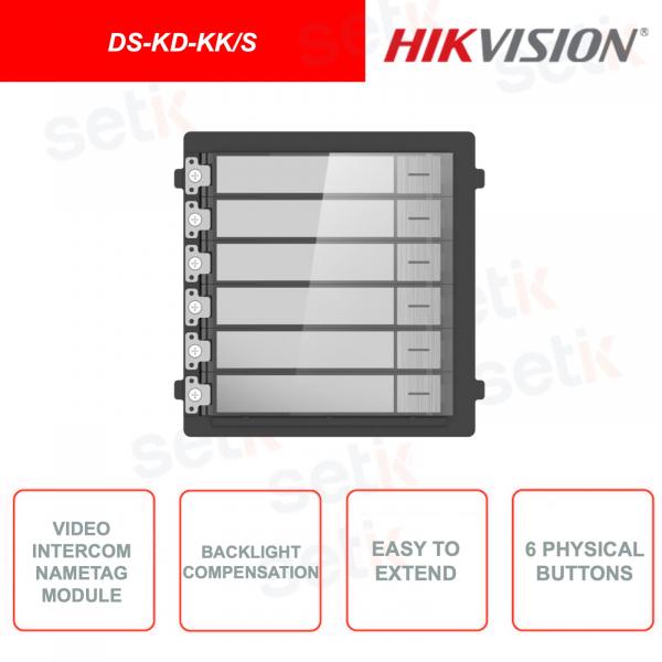 DS-KD-KK/S - Hikvision - Pulsantiera da esterno - In acciaio inossidabile - Montaggio a incasso o a parete