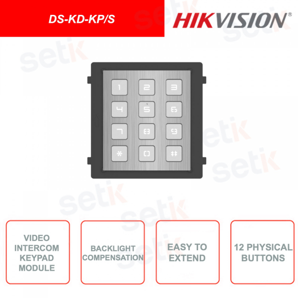 DS-KD-KP / S - Video Intercom - Keyboard Module - Keypad with 12 physical keys - 8x DIP Switch - Flush or wall mountable