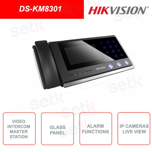 DS-KM8301 - Hikvision - Video Intercom - Master Station - IP Camera Live View - Glass panel and aluminum alloy bracket
