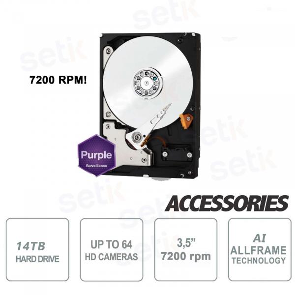 Hard Disk Interno SATA per Videosorveglianza 14TB 7200 rpm Western Digital