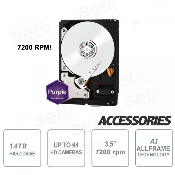 Internal SATA Hard Disk for Video surveillance 14TB 7200 rpm Western Digital