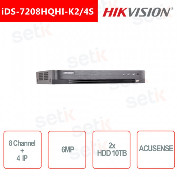 ACUSENSE DVR HIKVISION 5IN1 8 CHANNELS + 4 CHANNELS IP 6MP 2x HDD 10TB AUDIO SMART FUNCTIONS