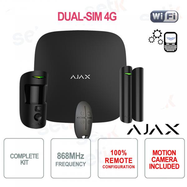 AJAX Kit di Allarme Professionale Wireless senza fili GPRS / Ethernet dual-SIM 4G Colore Nero