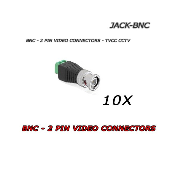 10x BNC TO 2 PIN VIDEO JACK CONNECTORS - CCTV