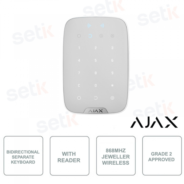 AJ-KEYPADPLUS-W - AJAX - Independent bidirectional keyboard with integrated RFID reader for cards and tags