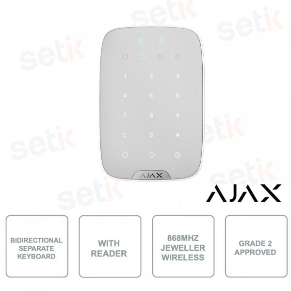 AJ-KEYPADPLUS-W - AJAX - Tastiera indipendente bidirezionale con lettore integrato RFID per schede e tag