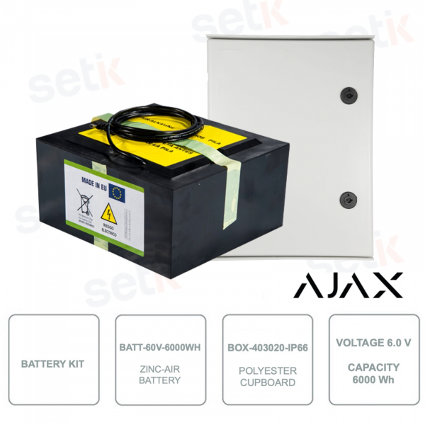 AJ-BATTERYBOX-14M - Battery Kit - Zinc-aire battery BATT-60V-6000WH and Polyester cabinet BOX-403020-IP66
