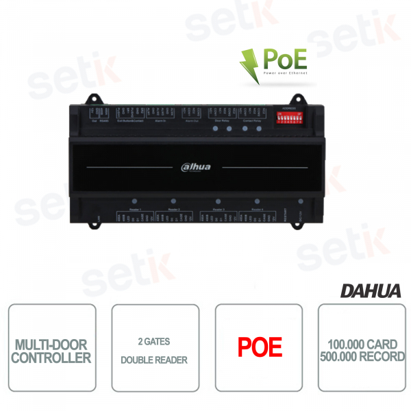 Access control controller with two gates and double reader - PoE - Dahua