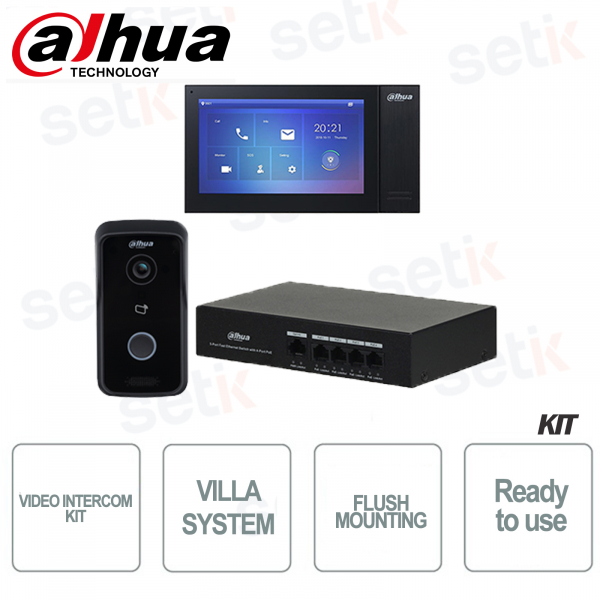Dahua Kit Videocitofono IP Villa da Incasso Postazione interna e Videocitofono e Switch PoE