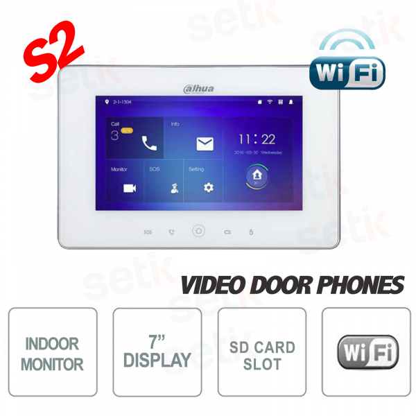 """Indoor WiFi Display 7 """"Touch + MicroSD Slot and Snapshot - White - S2 - Dahua"""