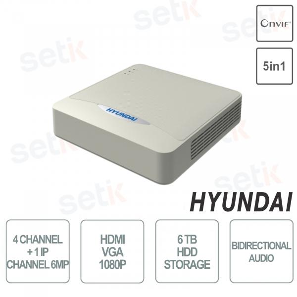 ZVR Hyundai 5in1 4 Channel + 1 Channel IP 6MP hdmi vga 1080P Onvif Audio