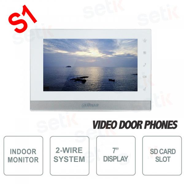 """Postazione Interna Intercomunicante Bifilare IP - Display 7"""" Touch - Slot SD Card - Dahua"""
