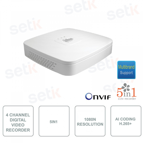 XVR4104C-I - Dahua - 4 Channels - 5in1 - Resolution 1080N / 720p - Digital Video Recorder - H.265 + with AI Coding