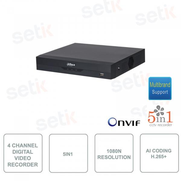 XVR4104HS-I - Dahua - XVR Digital Video Recorder - ONVIF - 4 Canali - 5in1 - Risoluzione 1080N/720p - H.265+ con AI Coding