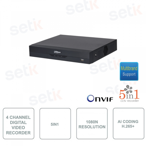 XVR4104HS-I - Dahua - XVR Digital Video Recorder - ONVIF - 4 Channels - 5in1 - Resolution 1080N / 720p - H.265 + with AI Coding