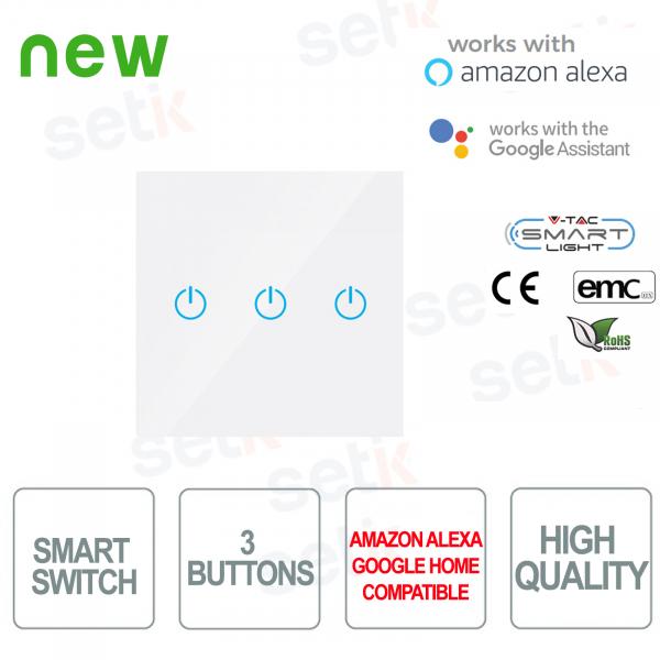 WIFI Smart Home Switch 3 buttons IP40 Alexa Google Home V-TAC W