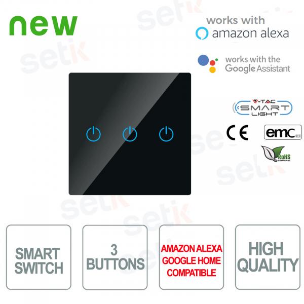 WIFI Interruttore Smart Home 3 tasti IP40 Alexa Google Home V-TAC Nero