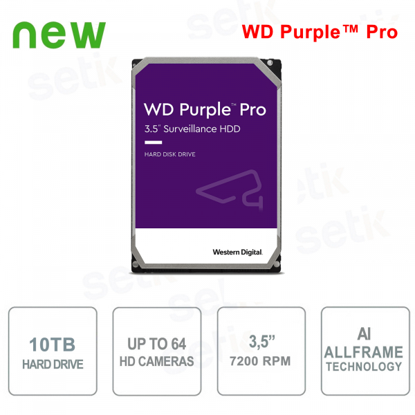 "Hard Disk Interno 10 TB Audio Video SATA 3.5""  IA AllFrame™ WD Purple™ Pro"