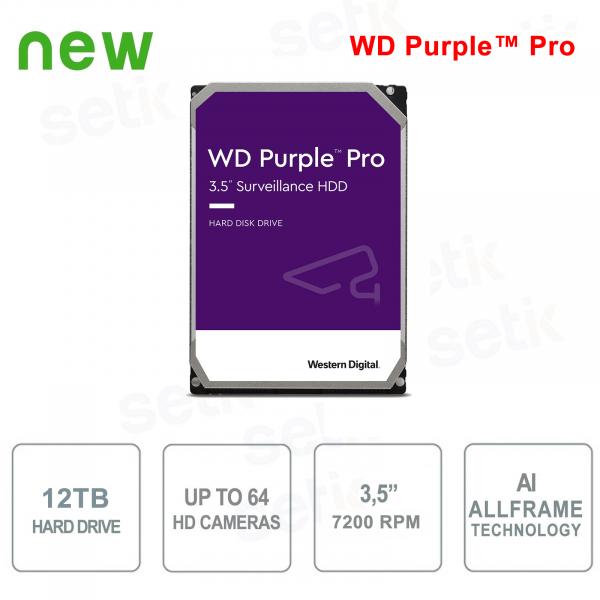 "Internal Hard Disk 12 TB Audio Video SATA 3.5 ""IA AllFrame ™ WD Purple ™ Pro"