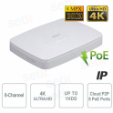 NVR IP 8 Canali 4K 8MP 8 Porte PoE 80Mbps Dahua
