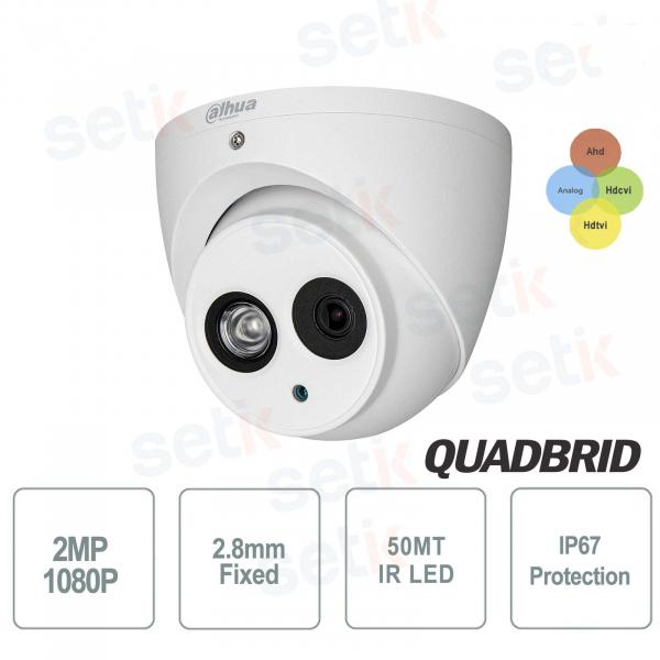 HD 4 in1 2MP 2.8mm IR50 POC outdoor dome camera - S4 version - Dahua