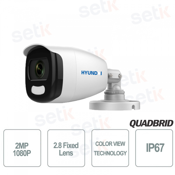 Telecamera Hyundai 2MP 4in1 Bullet Ottica Fissa COLOR VIEW 3D-DNR