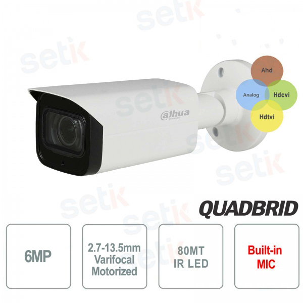 Dahua 6MP 4in1 Camera Motorized 2.7-13.5 mm Audio IR 80