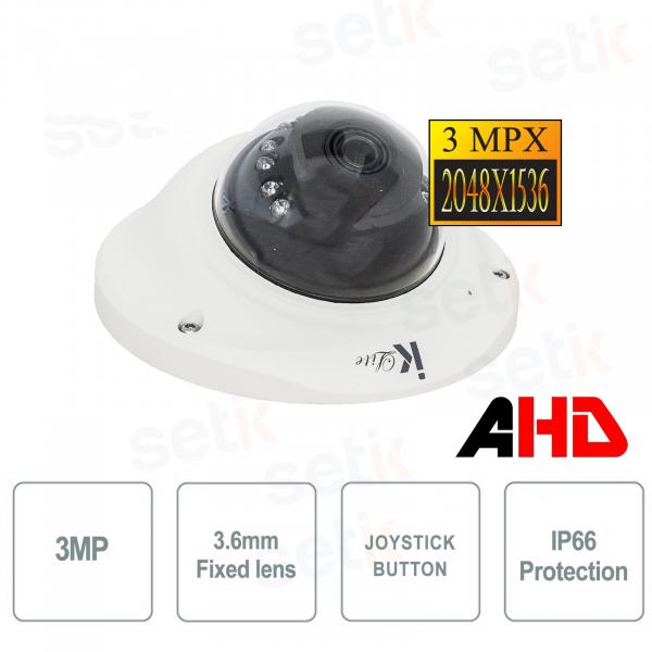 Dome AHD Camera 3MP 3.6mm IR IK10 - Lite Series - Setik