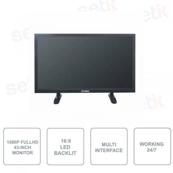 HYU-536N - Monitor 43 Pollici - LED - 1080p Full HD - Funzionamento 24/7 - Multi interface - Tempo di risposta 8ms