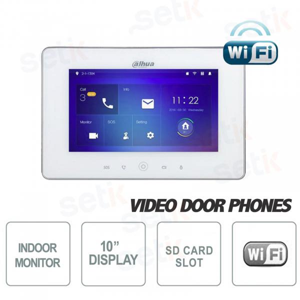 Postazione Interna S2 WiFi Display 10 Pollici Touch + Slot MicroSD e Snapshot - Bianca - Dahua