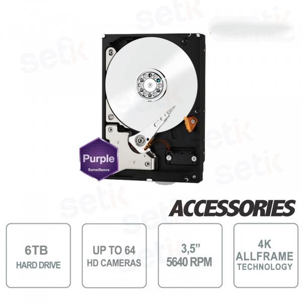 "Internal Hard Disk 6 TB Audio Video SATA 3.5 ""AllFrame 4K - WD"