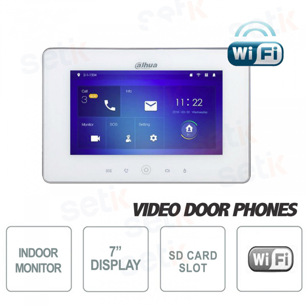 "Postazione Interna WiFi Display 7"" Touch + Slot MicroSD e Snapshot  Bianca - Versione S1 - Dahua"
