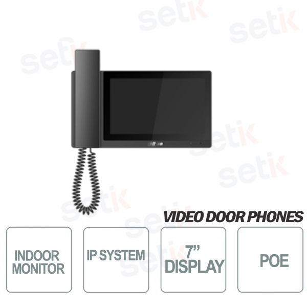 Postazione interna IP Dahua Monitor TFT 7 Pollici Touch PoE MicroSD - Colore Nero