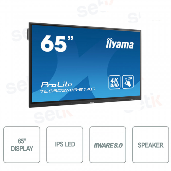 65 Inch 4K Ultra-HD Touch Speakers IPS LED Monitor iiware - IIYAMA