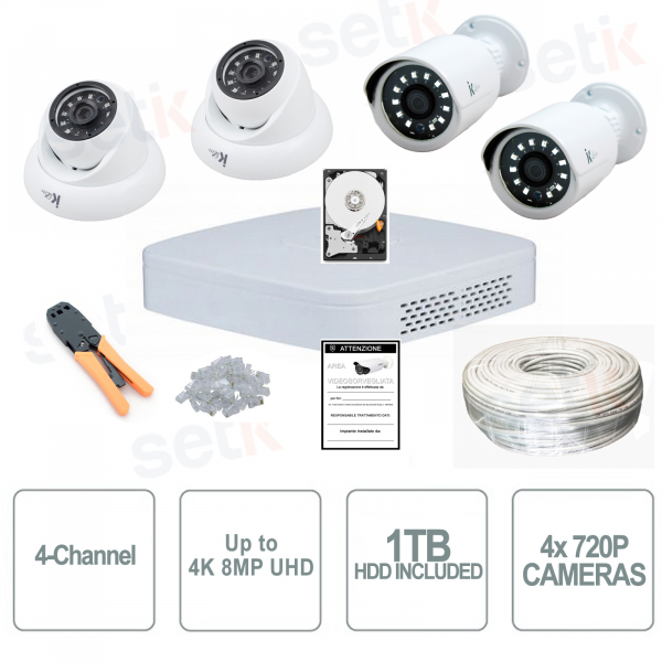 4-channel IP video surveillance kit with professional 1Mpx cameras - Dahua