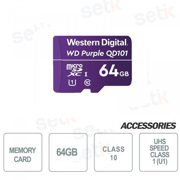 MicroSDHC Western Digital 64 GB Classe 10 UHS SC QD101 Ultra Endurance