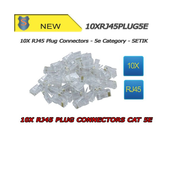 10x RJ45 Connectors PLUG CAT 5E - SETIK