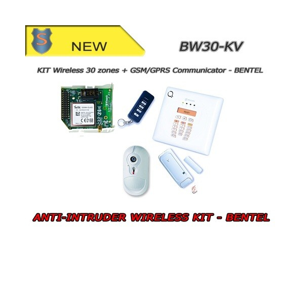 COMPLETE WIRELESS ALARM KIT - PIR 30 ZONES + GPRS/GSM COMMUNICATOR - ANTITHEFT - BENTEL