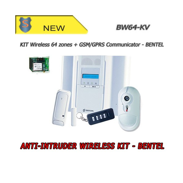 COMPLETE WIRELESS ANTI INTRUSION ALARM PIR 64 ZONES KIT + COMMUNICATOR - Anti intrusion Security - Bentel