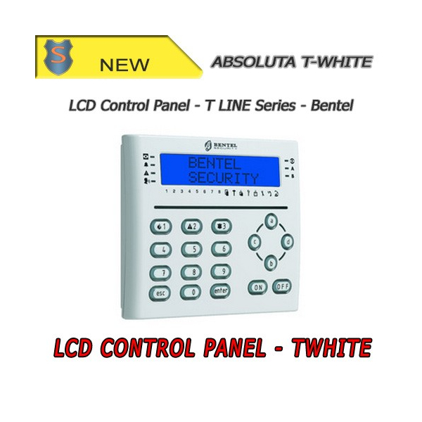 White LCD Keypad with Proximity Reader and I/O Terminals - Absoluta Series by Bentel