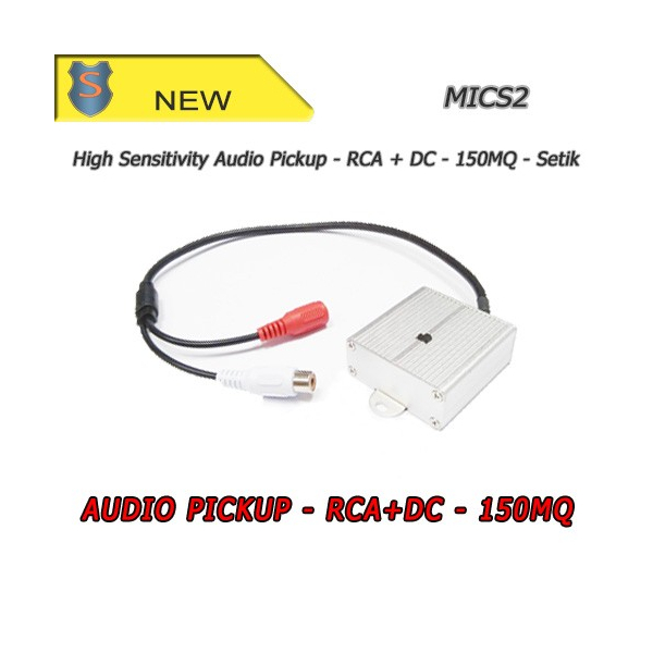 Audio Pickup Microphone with RCA + DC Connector - High Sensitivity 150mq - Setik
