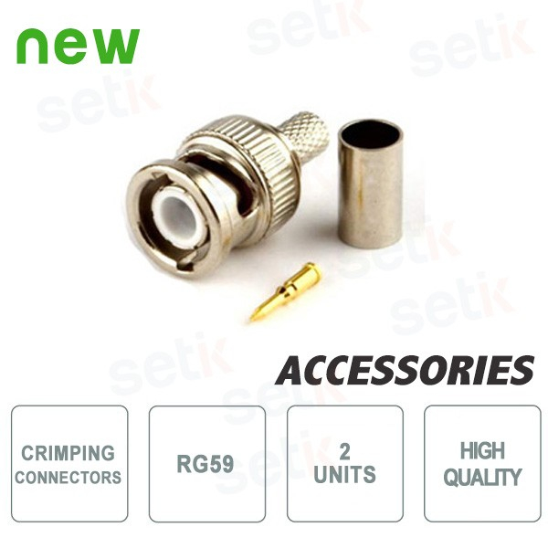 2 X RG59 Crimping Connectors for CCTV Systems