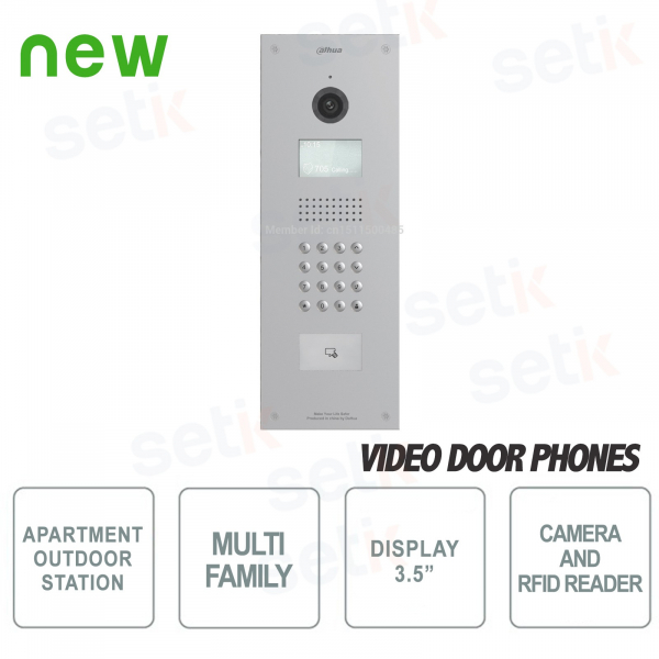 Multi-Family Outdoor Station with Camera, LCD Display, RFID Card Reader and Numeric Keypad - Vandalproof - Dahua