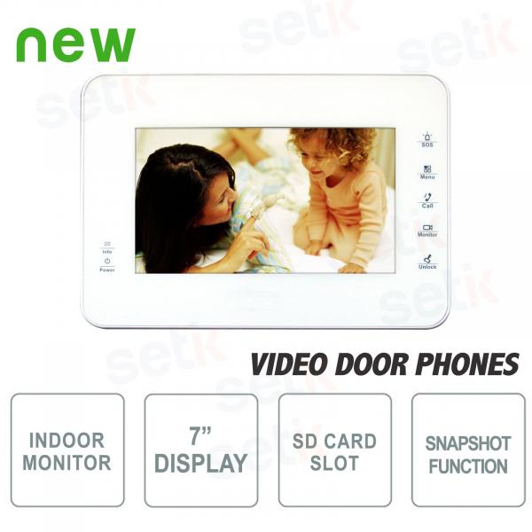 """Postazione Interna Intercomunicante - Display 7"""" Touch + Slot SD Card e Funzione Snapshot - Bianca"""