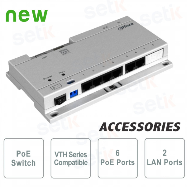 POE Switch for IP System - 6 PoE ports to power VTH video intercom stations - 24Vdc - Dahua