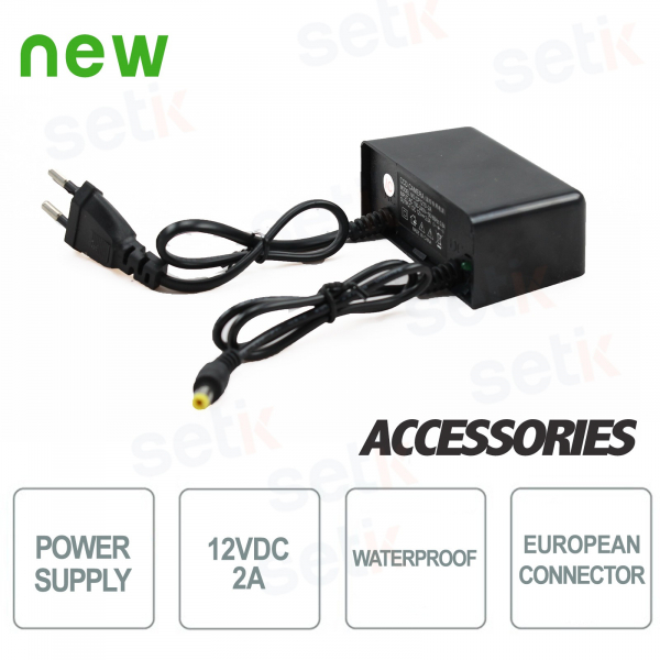 12V 2A power supply for CCTV cameras. Waterproof - Setik
