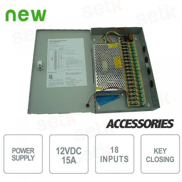 12V 15A CCTV POWER SUPPLY BOX - 18 CONNECTIONS - SETIK
