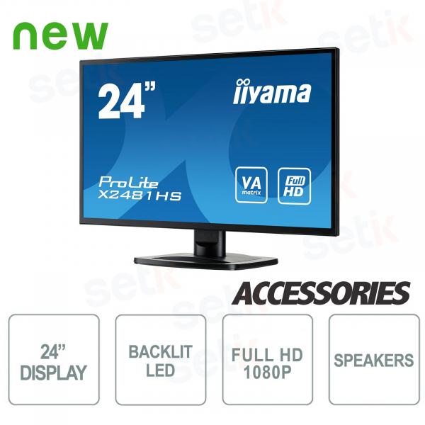 "Monitor ProLite 24"" Full HD VA - DVI-D - HDMI - Speaker - Attacco Vesa - IIYAMA"