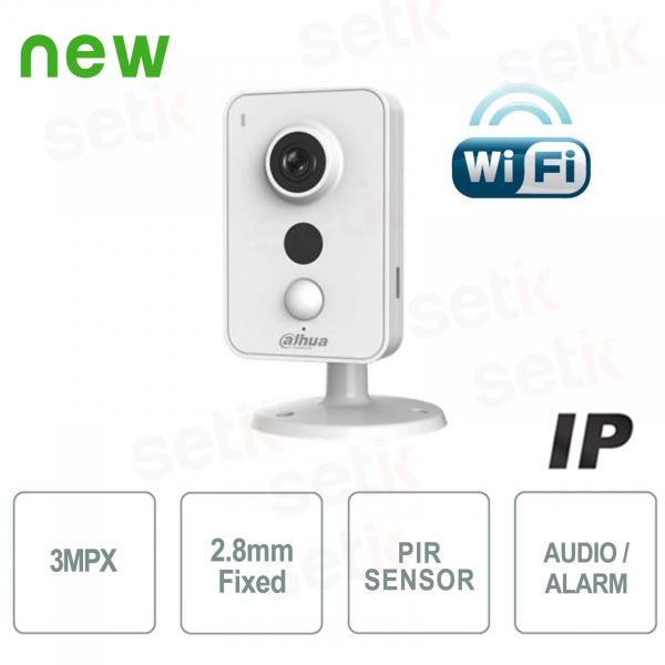 Telecamera IP WiFi 3MP 2.8mm IR Allarme Audio - Serie Cube - Dahua