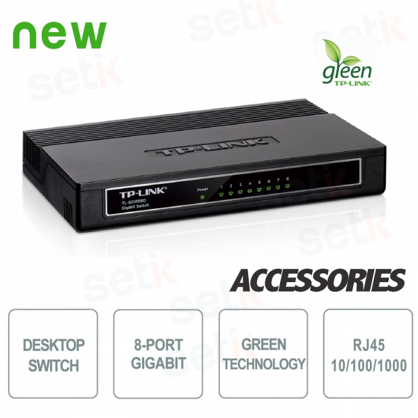 8 Port Gigabit Desktop Switch 10/100 / 1000Mbps - Setik